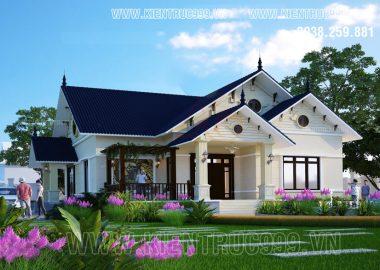 Nhà đẹp một tầng mái thái hoa vàng cỏ xanh