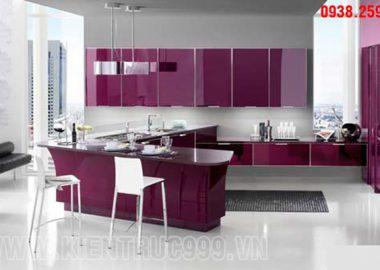 Nội thất phòng bếp màu tím của tình yêu lãng mạn.