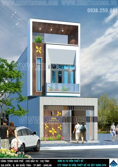 Phong cách mới thiết kế mặt tiền nhà phố 5x18m 2 tầng tại Đaklak